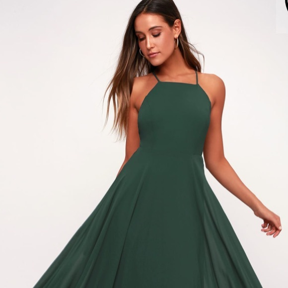 84d686e4235e Lulu's Dresses | Nwt Mythical Kind Of Love Dark Green Maxi Dress ...